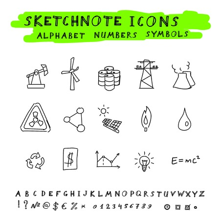 Doodle Energy Icons, Alphabet and Symbols Set  Vector skethnote collection Vector