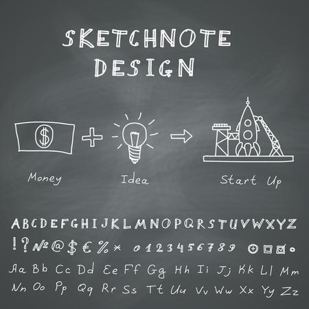 Hand Drawn Doodle Start Up Infographic  Vector skethnote design on chalkboard background Vector