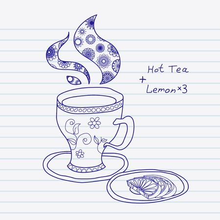 Hand drawn teacup with three lemons  Vector sketchnote design Vector
