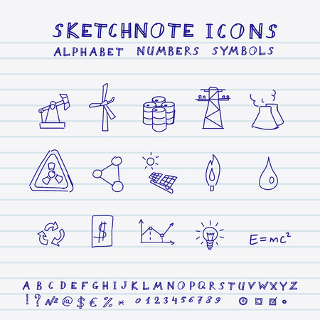 Doodle Energy Icons, Alphabet and Symbols Set   Vector
