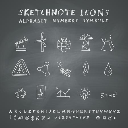 Doodle Energy Icons, Alphabet and Symbols Set. Vector set on chalkboard background Vector