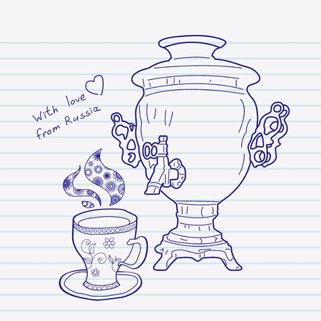 russian food: Russian samovar and cup. Vector skethnote design