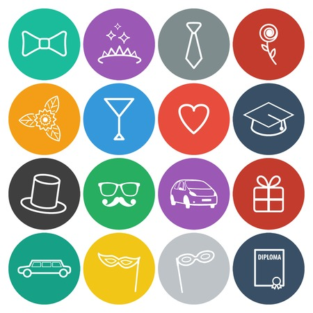 prom: Round prom icons set. Vector flat design