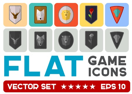 Vector flat game icons set. Medieval shields Vector