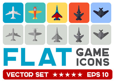 Vector flat game icons set. Combat aircrafts Vector