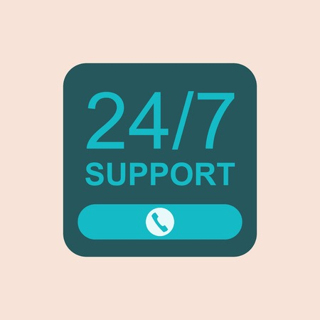 interface design: 24 hours support flat icon. Vector interface design