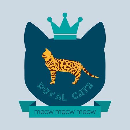 bengal: Royal Bengal cat badge. Vector flat design