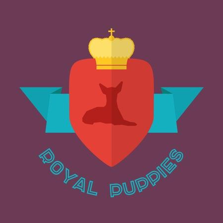 toy terrier: Royal Toy Terrier dog badge. Vector flat design