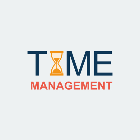 Modern flat time management. Vector background with hourglass