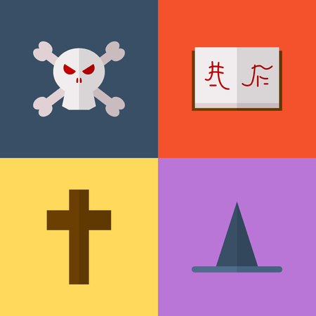 artifacts: Vector flat game icons set. Magical artifacts