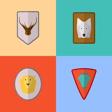 Vector flat game icons set. Medieval shields Illustration