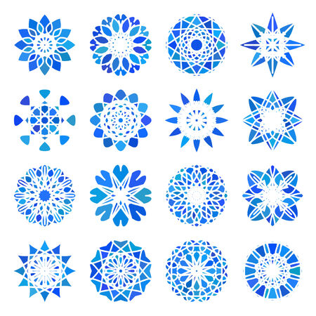 east: Blue round east ornament set. Vector symbols