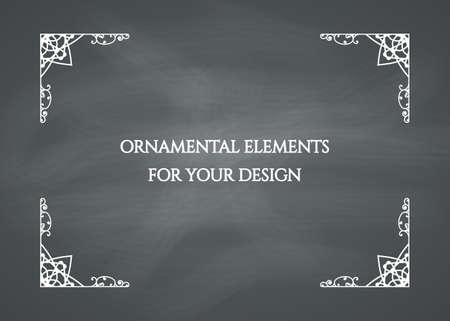Ornamental frame on chalkboard background. Vector illustration