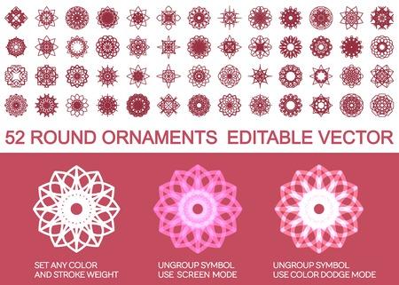 Editable round east ornament set. Vector symbols Vector
