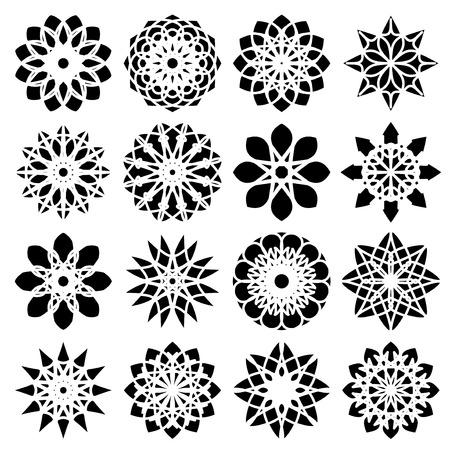 Black round east ornament set. Vector symbols