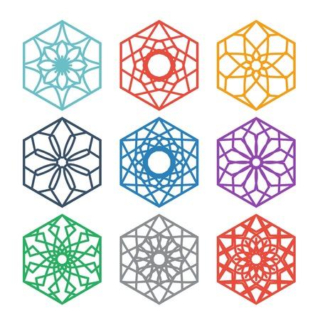Arabic hexagon ornament set. Vector symbols collection