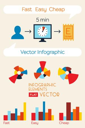 e ticket: Buy tickets online infographic. Vector flat design