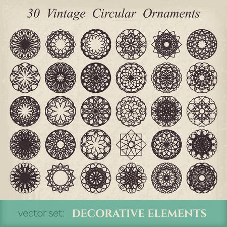 Editable round east ornament set. Vector symbols on retro background