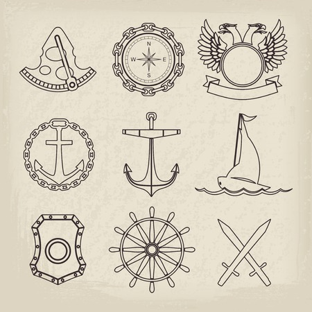Vintage nautical labels, icons and design elements. Vector set