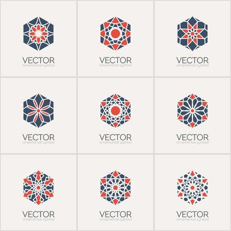 mehendi: Ornamental logo template set. Vector hexagon symbols Illustration