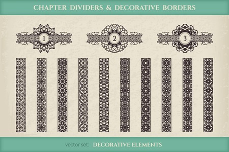 chapter: Calligraphic design elements. Vector set of chapter dividers and ornamental borders