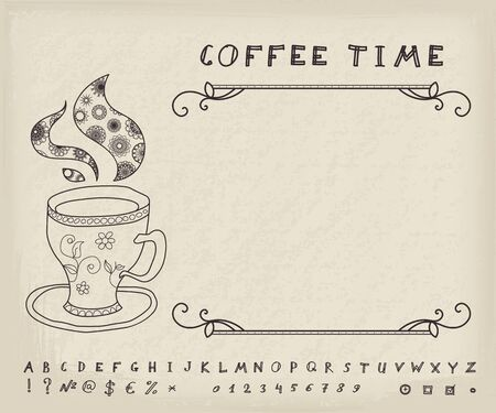 pf: Cup pf coffee with sketchnote alphabet, numbers and symbols. Vector vintage background Illustration