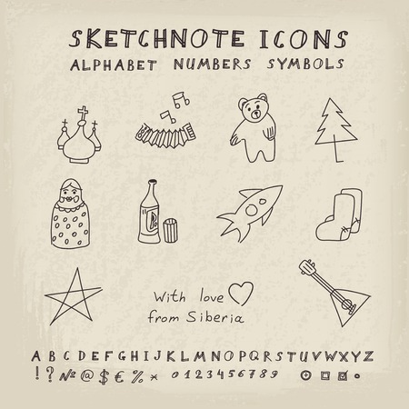 valenki: Doodle Russian Icons, Alphabet and Symbols Set. Vector skethnote collection Illustration