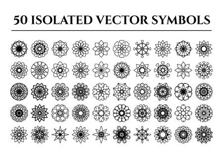 mehendi: Isolated round east ornament set. Vector symbols Illustration