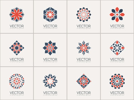 Geometric logo template set. Vector ornamental symbols Ilustrace