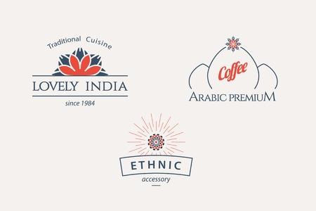 Asian logo template set. Vector ethnic ornamental design