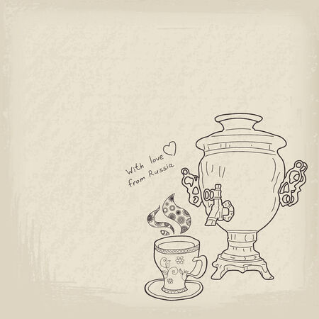 russian food: Russian samovar and cup. Vector vintage background Illustration