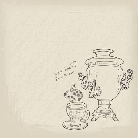 samovar: Russian samovar and cup. Vector vintage background Illustration