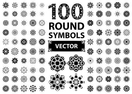 cobranza: Circular asiático ornamento set. Símbolos aislados del vector Vectores