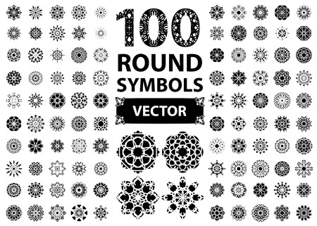 Circular asian ornament set. Vector isolated symbols