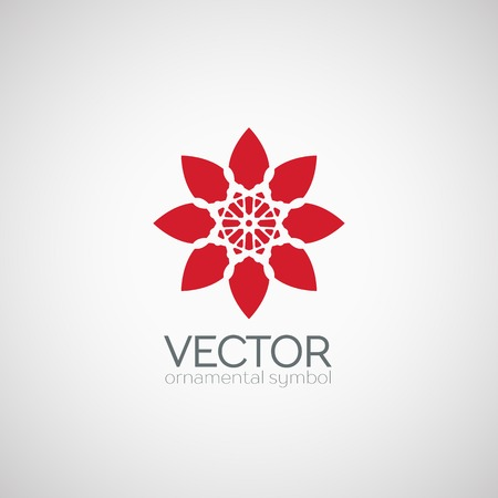 buddha lotus: Ornamental template design. Vector floral circular symbol