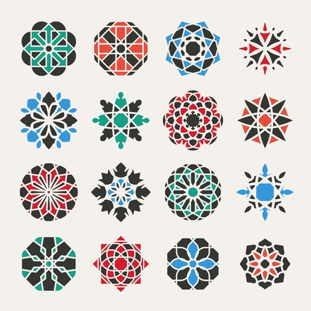 spirograph: Geometric icon template set. Vector ornamental symbols
