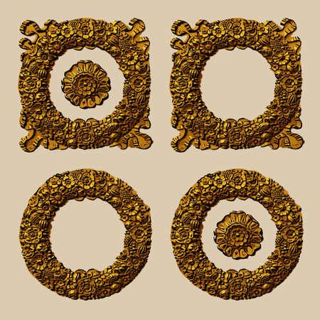 rococo style: Conjunto ofrenda floral. Retro ilustraci�n vectorial de estilo rococ� del siglo XVII
