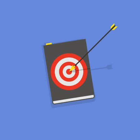 pocket book: Vector flat book icon with arrow and target