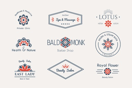 healt: Asian health and beauty icon templates set. Vector ethnic ornamental design for beauty salons, spa, massage, barber shops, saunas, healthcare and medicine.