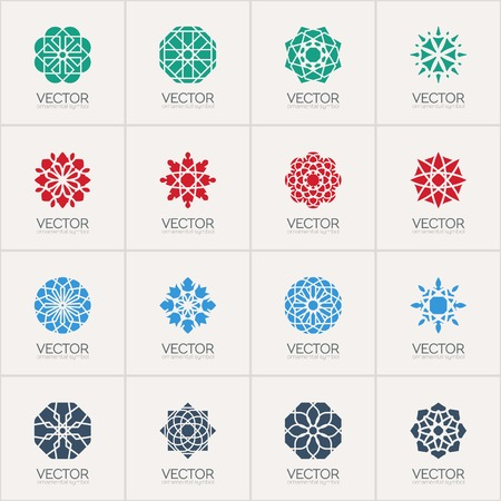mandala tattoo: Geometric icon template set. Vector ornamental symbols