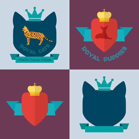 bengal cat: Royal bengal cat and toy terrier dog badges. Vector flat design