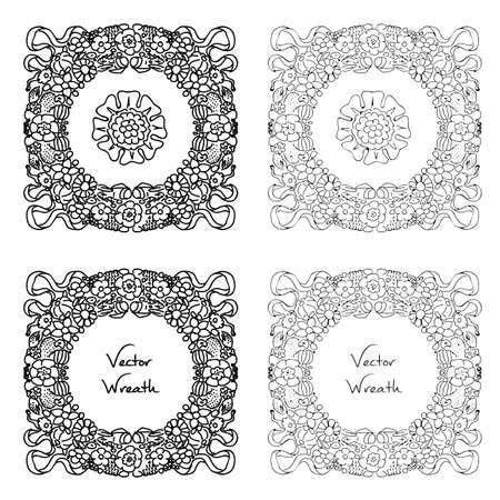 seventeenth: Doodle floral wreath set. Retro vector illustration in rococo style seventeenth century