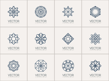 Geometric logo template set. Vector ornamental symbols Illustration