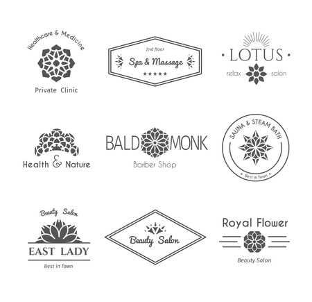 Aziatische geïsoleerd gezondheid en schoonheid logo sjablonen set. Vector etnische sier ontwerp voor schoonheidssalons, spa, massage, kapsalons, sauna's, gezondheidszorg en de geneeskunde. Logo