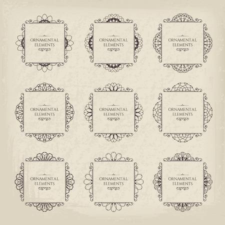 カリグラフィ フレーム デザイン要素です。ページ装飾のベクトルを設定  イラスト・ベクター素材