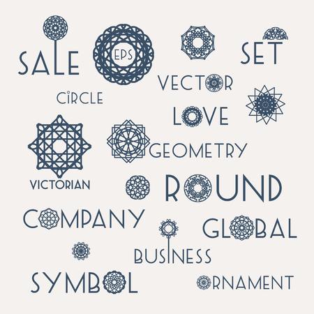 slogans: Round symbols with slogans. Vector design elements