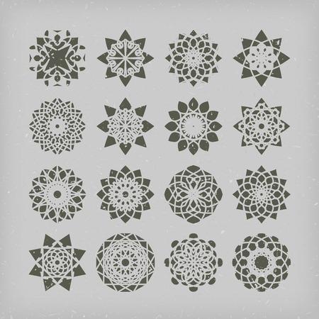Circular east ornament set. Vector vintage symbols Vector