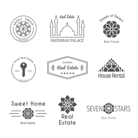 rental agency: Asian real estate templates set. Vector ethnic ornamental design for agency, house and apartment rental, construction services or apartment repairs.