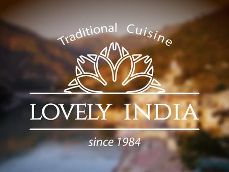 comida arabe: Plantilla Lovely India. Vector diseño ornamental étnico para restaurantes y cafeterías. Vectores