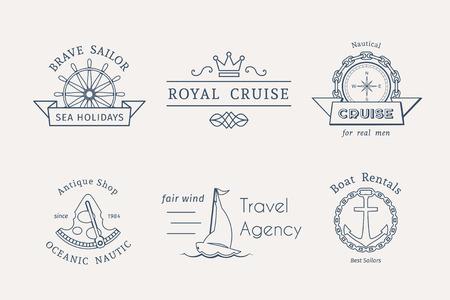 logotipo turismo: Retro etiquetas n�uticas e iconos. Plantillas del vector para el dise�o del logotipo de las agencias de viajes, oficinas de turismo, alquiler de embarcaciones o cruceros. Vectores